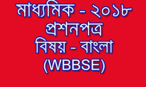 Madhyamik Question Paper – 2018 | Bengali Subject | WBBSE
